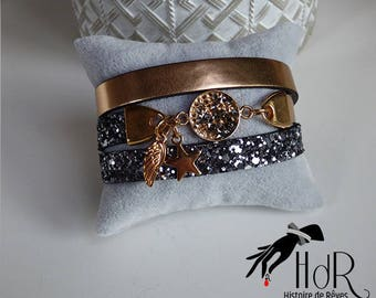 Swarovski crystals and multi round leather bracelet
