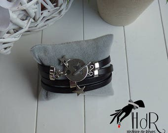 Star and leather bracelet black double strand