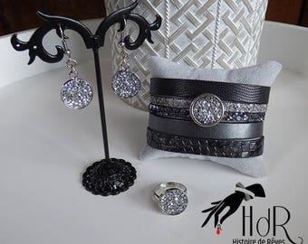 Silver and gray Swarovski jewelry