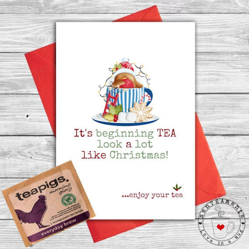 Tea Lovers Unique Christmas Card with Teapigs teabag included image 0