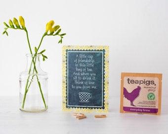 Eine kleine Tasse Freundschaft - Gruß-Karte mit TEAPIGS Teebeutel enthalten. Karte und Geschenk in einem. Tee-Liebhaber-Card Tee-Süchtigen. Einzigartige Karte.
