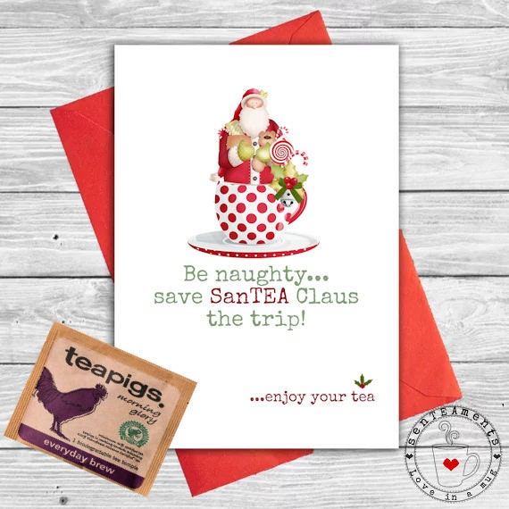 Tea Lovers Unique Christmas Card With Teapigs Teabag Included Ideal Small Gift For Friends Family Babysitter Teacher Work Colleagues