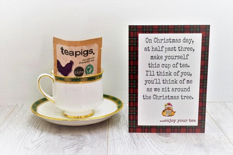 Scottish Christmas Card  Tea Lovers Card with Teapigs teabag image 0
