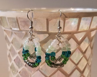 Green ombre beaded dangle earrings