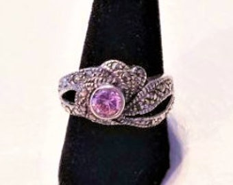 Sterling silver statement ring with pink stone