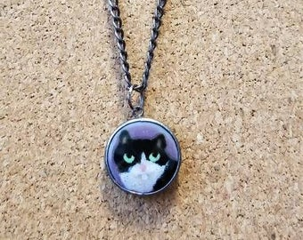 Grumpy Cat necklace on gunmetal plated chain