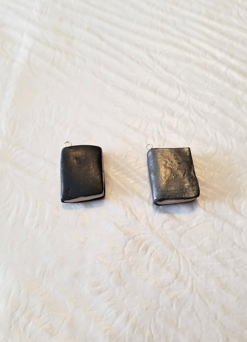 black and gray Mini polymer clay hardcover book charms