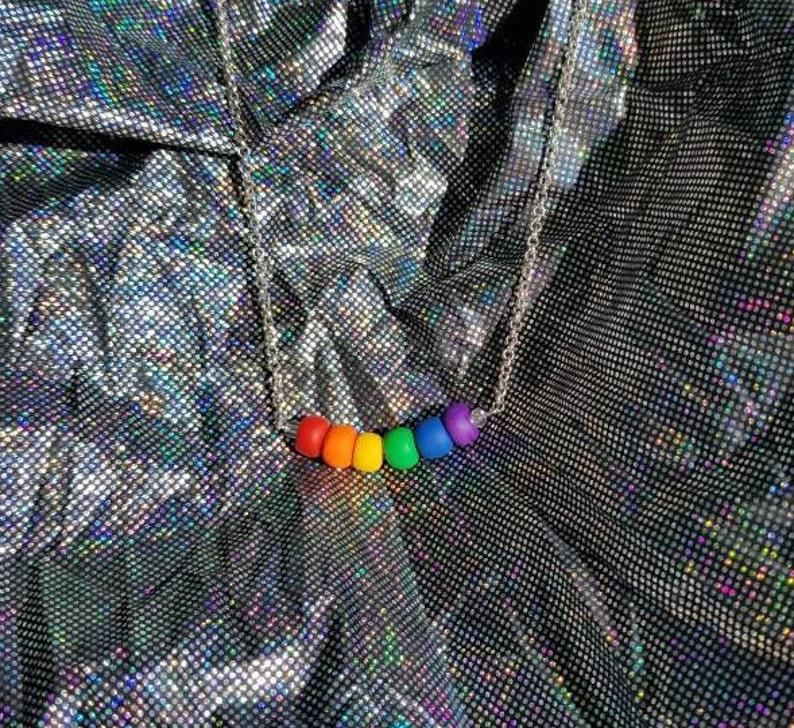 Handmade rainbow polymer clay necklace