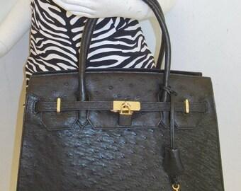 cad6003b83 BIGSPRINGSALE vintage large new black genuine Ostrich skin handbag purse  key lock