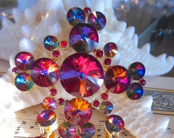 SUMMERSALE22%OFF stunning vintage signed Weiss rivoli volcano set brooch  pin earring maltese cross b02f9bef88ac