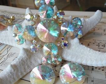 SUMMERSALE22%OFF stunning vintage Weiss rivoli set brooch pin earring  maltese cross ab aurora borealis headlight feliotrope 0c01a2586b01