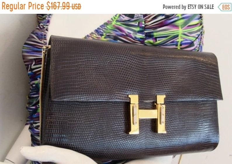 fa03fa5ebabe1 20%OFFJUNESALE stunning vintage FINESSE genuine LIZARD handbag Clutch Italy  brown