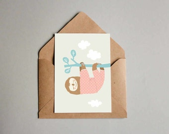 Sloth Postcard Birthday Present Greeting Card Giftcard Illustration