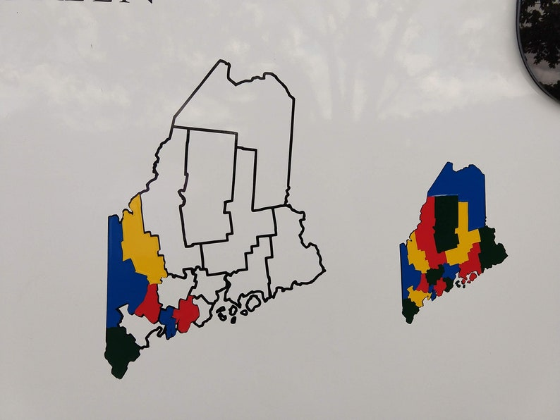 Maine County Map Adventure Tracker Maine County Map RV Decal image 0