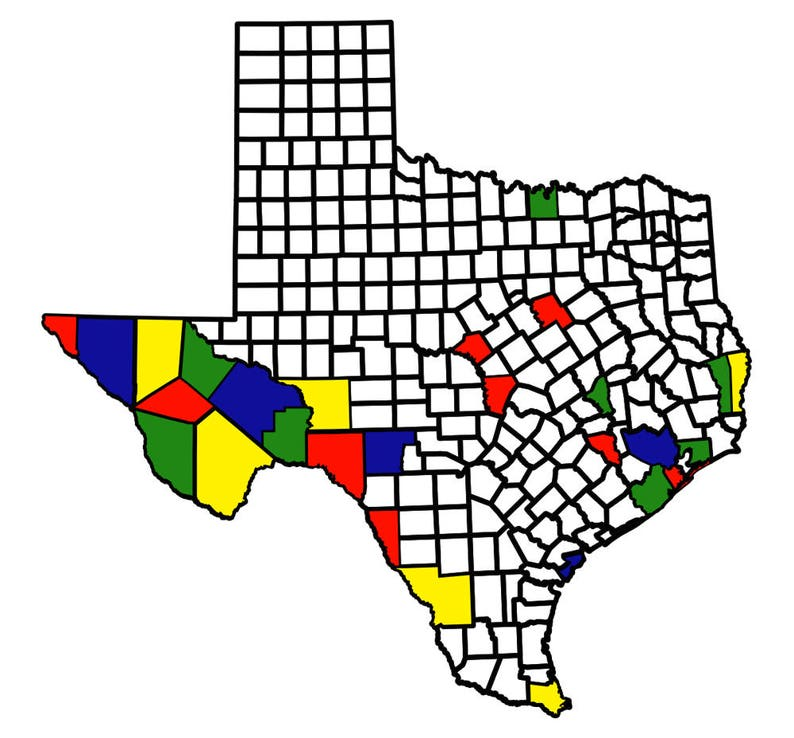 State Of Texas Counties Map.Texas County Map Adventure Tracker Mini And Large Decal Maps