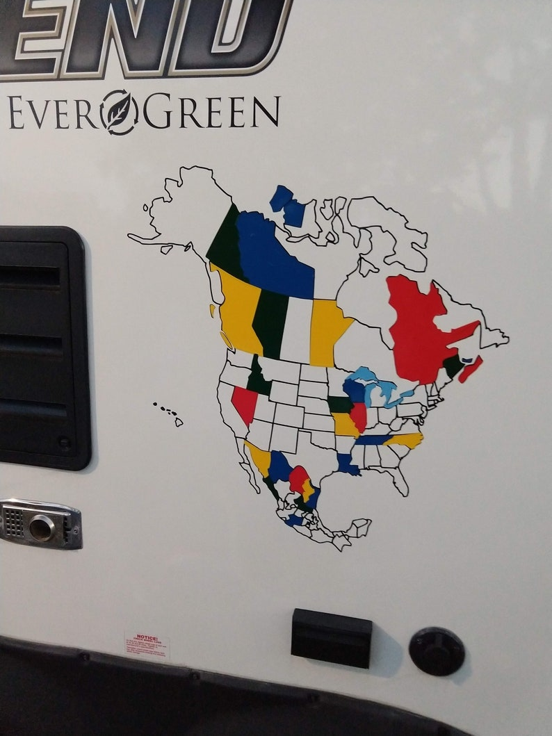 North America Decal Adventure Tracker - US Decal, Canada Decal, Mexico  Decal, Camper Decal, Adventure Tracker, North America Map, Camping
