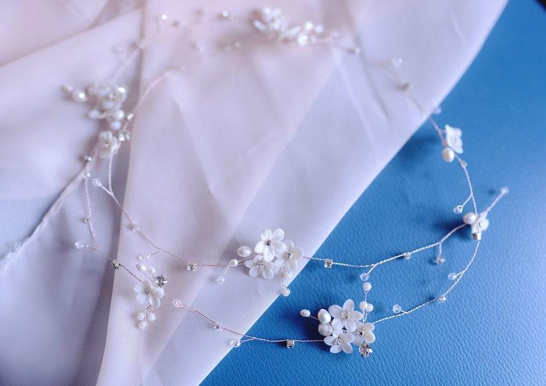 Crystals Bridal Wedding Flower Bridal Hair vine Pearl Hair vine Bridal hair piece Bridal Hair Vine Hair vine wedding Bridal Hair vine