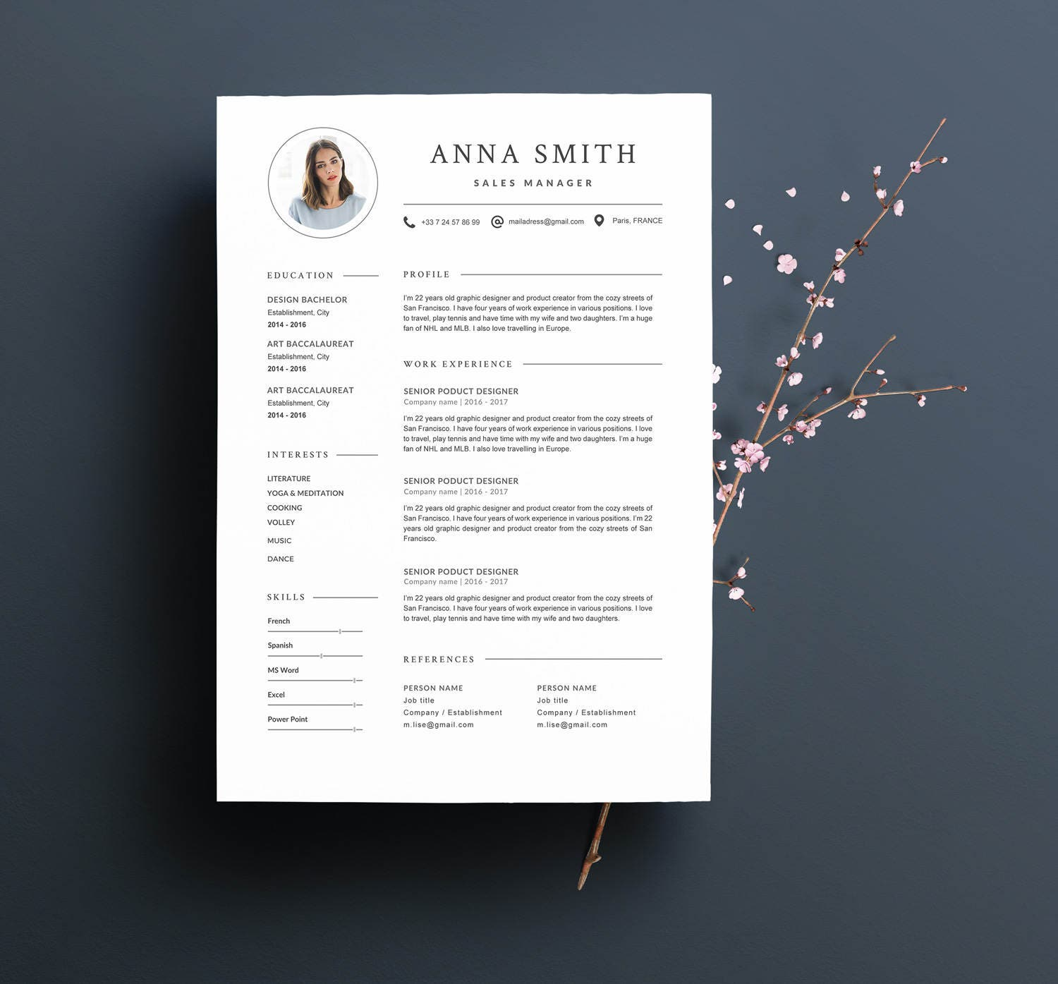 mod u00e8le de cv anna moderne  u0026 lettre de motivation