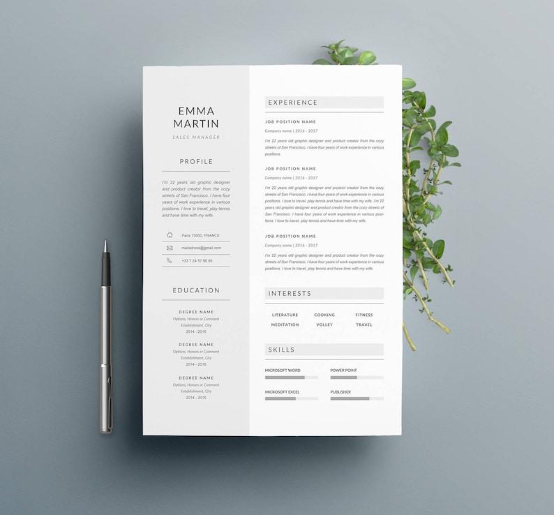 Modern Resume Template EMMA & Cover Letter  4 image 0