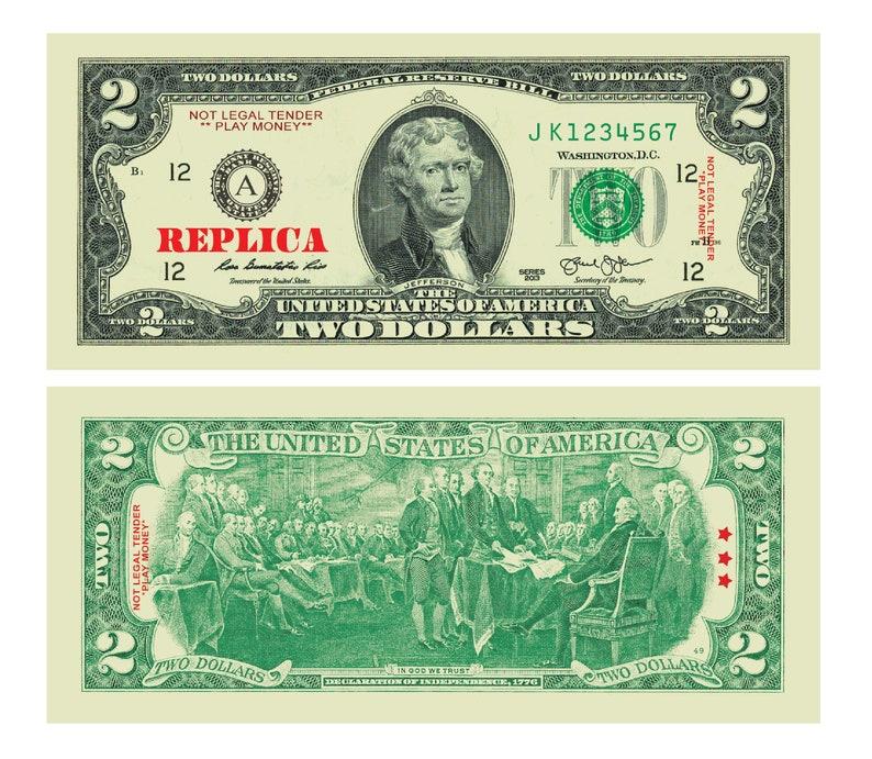 Fake Two Dollar Bills (sets of 100)
