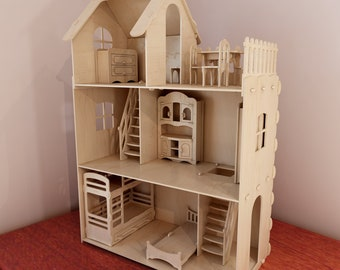 Big Plywood Doll House V1 + Dolls Furniture Pack. 1:6 Scale Vector Model  For CNC Router And Laser Cutting. Barbie Size Dollhouse.