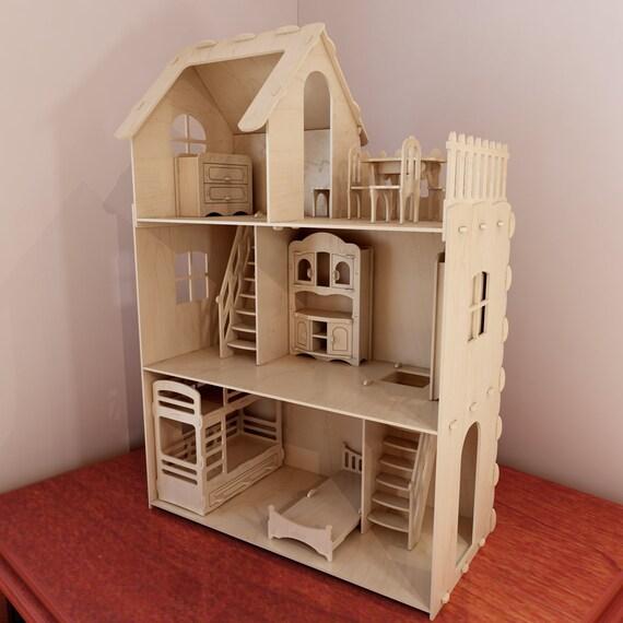 Big Plywood Doll House V1 Dolls Furniture Pack 1 6 Scale Etsy