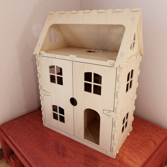 Front opening dollhouse v6  1:12 scale laser cutting vector plans  CNC  router cutting project  Plywood 6mm