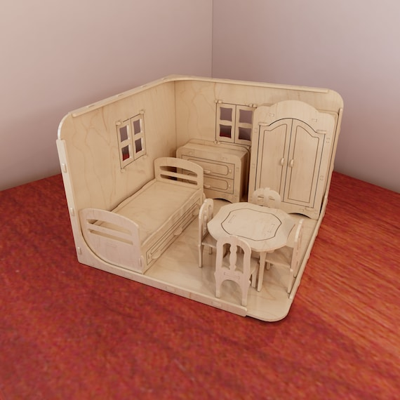 Remarkable Cnc Pattern Dollhouse Room Box For Barbie Doll Furniture Pack 1 6 Scale Plans For Cnc Router And Laser Cutting Pattern Vector Pdpeps Interior Chair Design Pdpepsorg