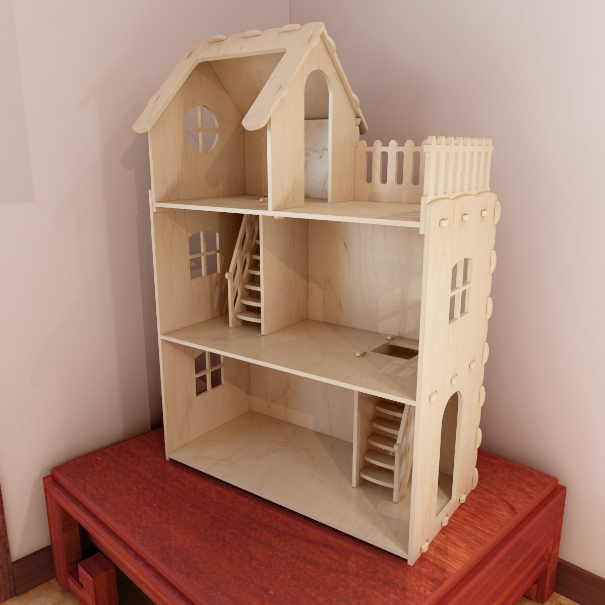 Groovy Big Plywood Doll House V1 1 6 Scale Vector Model For Cnc Router And Laser Cutting Barbie Size Dollhouse 6Mm Plywood Download Free Architecture Designs Scobabritishbridgeorg