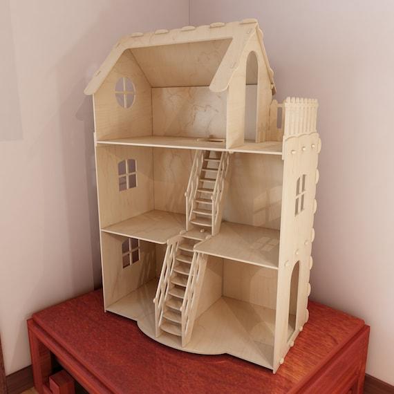 Dollhouse V3 Big Plywood Doll House For Barbie 1 6 Scale Etsy