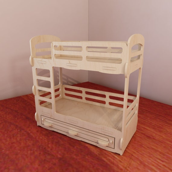 Bunk Bed For Barbie Dollhouse Barbie Size 1 6 Scale Vector Etsy
