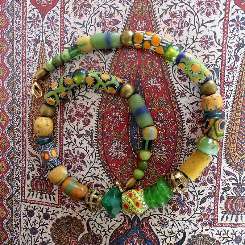 Bronze Beads Ghana African Beads Millefiori  Murano Trade Beads Powder Glas Beads Ethno Jewelery
