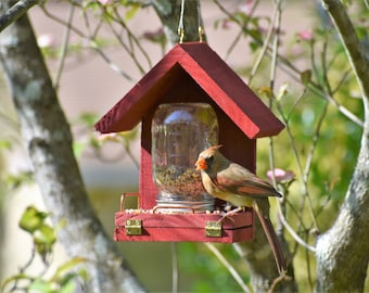 This Bird Feeder works! Easy to Fill, Easy to Clean - Feed the birds with this handcrafted Mason Jar time tested feeder!