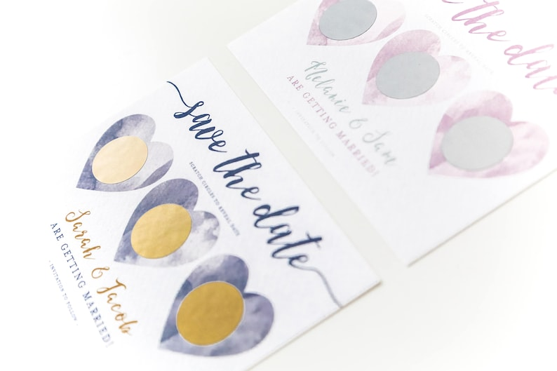 Watercolour Hearts Custom Colour Scratch Off Gold Personalised Wedding Invitation Save the Date Modern Calligraphy