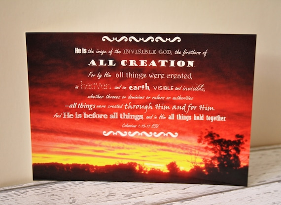 Bible verse postcard set x5 red sunset colossians 115 17 etsy image 0 m4hsunfo