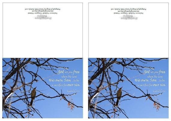 Printable Folded Greeting Card Free Bird Bible Verse Christian Etsy