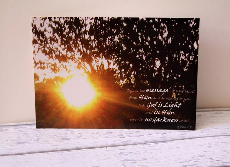 Bible Verse Postcard Set X5 God Is Light 1 John 15