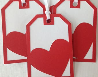 Red heart Valentines gift tags