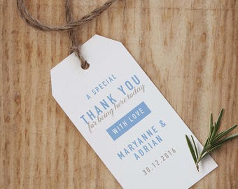 10 Designed Natural Thank you Tags, Bombeneire *Customise Name, Date & Colour*