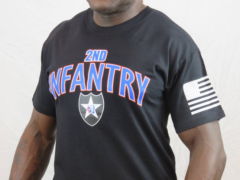 6e73780a 2nd Infantry Division Veteran T-shirt Flag is now on right   Etsy