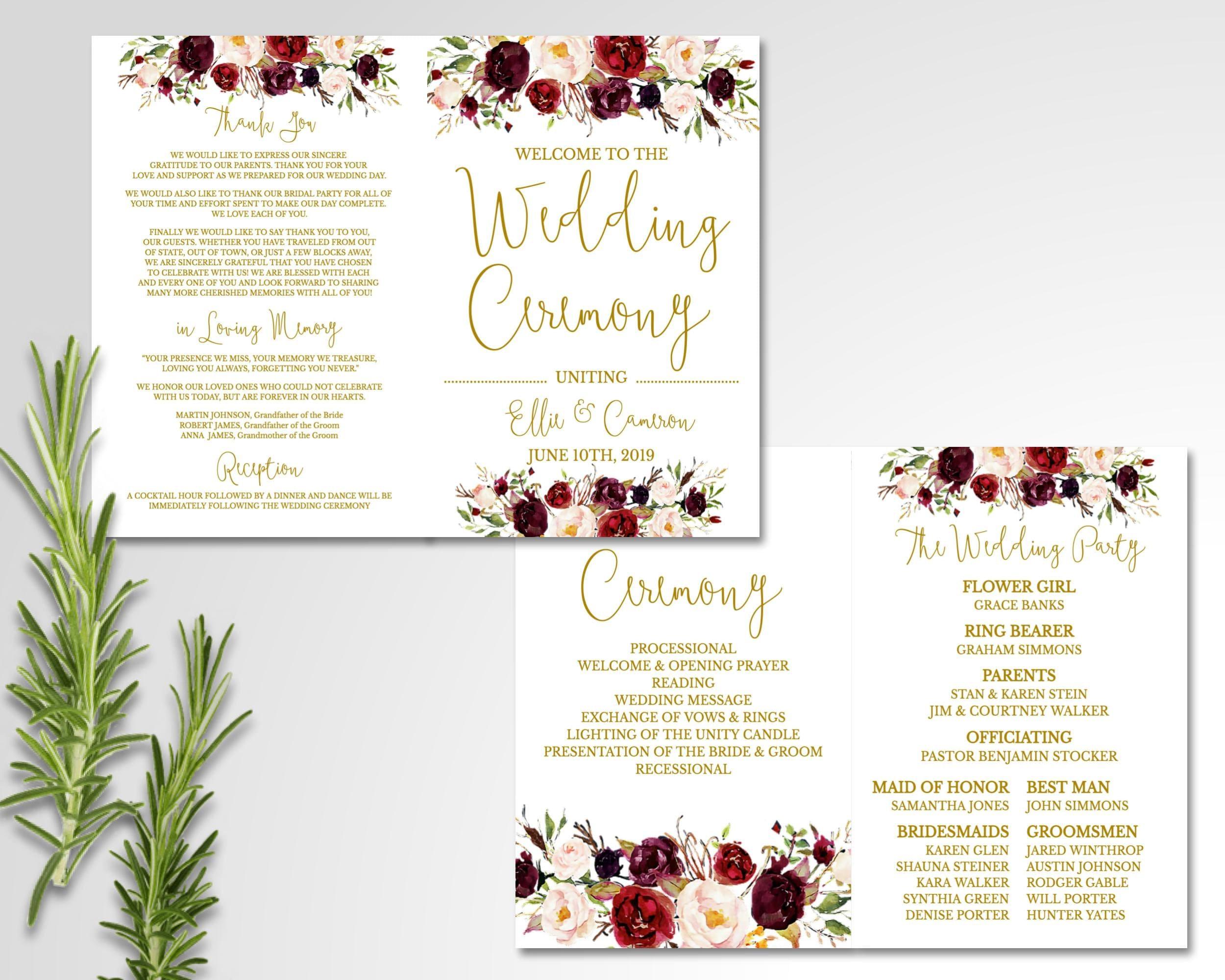 Floral Wedding Folded Program // Template // Marsala White // Stationery //  Burgundy // Boho // Custom // Charlotte