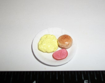 1:12 One Inch Scale Dollhouse Miniature Scrambled Eggs, Ham & Biscuit Breakfast attached to Paper Plate ~ Food for the Doll House 1241