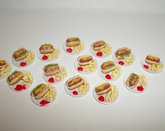 1:24 One Half Inch Scale Dollhouse Miniature Handcrafted Hot Dog with French Fries on a paper plate ~ Doll House Food