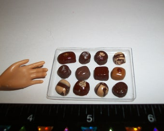 Dollhouse Miniature Valentines Day Chocolate Candy Sweet Dessert Food for Fashion Size Doll ~ see Barbie hand for reference to size 901