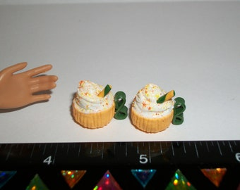 Dollhouse Miniature 2 Autumn / Fall Pumpkin Cup Spice Doll Dessert Drinks Fake Food ~ reference Barbie Hand 1501