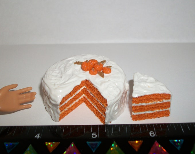 Featured listing image: 1:6 Playscale Dollhouse Miniature Handcrafted Autumn / Fall Pumpkin Layer Dessert Cake ~ see Barbie hand for reference to size