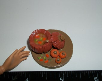 Dollhouse Miniature Handcrafted Autumn / Fall / Thanksgiving Pumpkin Soup Food for the Doll House - reference Barbie Hand for size 714