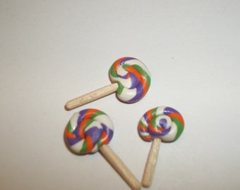 Dollhouse Miniature Lollipops / Handcrafted Doll Dessert Fake Candy / see Barbie Hand for reference to size 778