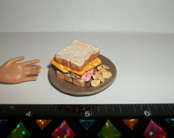 1:6 Playscale Dollhouse Miniature Handcrafted Ham & Cheese Sandwich ~ Food for the Doll House ~ reference Barbie hand for size 980