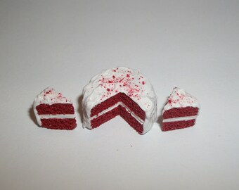 1:12 One Inch Scale Dollhouse Miniature Christmas Holiday Red Velvet Cake 17mm Dessert Food for Dolls 759